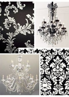 Love black & white damask