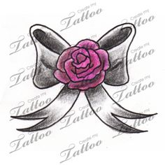 Little Black Grey Bow With Pink Rose Designed As A Wrist Tattoo Tiny