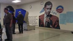 Obama 'Hope and Change' mural inside polling place in Philadelphia