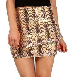 Ivory/Multi Sequin Wavy Mini Skirt