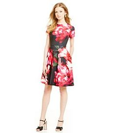 Donna Ricco Floral Printed Scuba Fit-and-Flare Dress