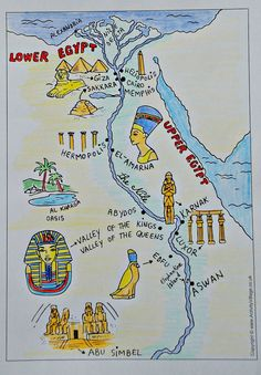 Tutankhamun Book and Art - Ancient Egypt black and white map from Activity Village coloured in by the kids of ofamilylearningto - Ancient Egypt Activities, Ancient Egypt Crafts, Ancient Egypt For Kids, Egyptian Crafts, Egyptian Art, Ancient Egypt Books, Ancient Egypt Lessons, Ancient Aliens, Ancient Artifacts