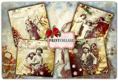 Vintage Christmas Printable Collage Sheet for Coasters Greeting cards Magnets Gift Coasters Set of 4 Printable Cards inch Printable Tags, Printable Paper, Craft Images, Bottle Cap Images, Arts And Crafts Projects, Christmas Printables, Collage Sheet, As You Like, Scrapbook Pages