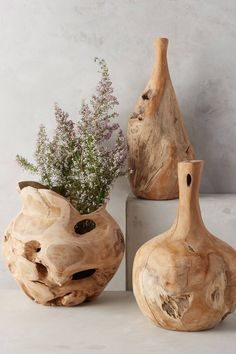Teak Bottle Vase - anthropologie.com