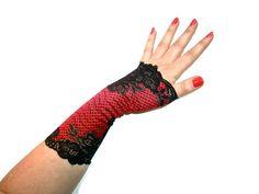 "Lola ""C"" Red Black Lace Armwarmers Cuffs Fingerless Gloves Avante Garde Burlesque Wedding Gothic Steampunk Victorian Edwardian Art Deco"