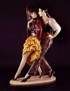 Porcelain dancing couple – designed by Lorenzl for  Goldscheider