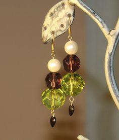 Green Purple and pearl chunky drop earrings by HandmadeShelley on Etsy
