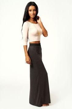 Helena Contrast Waistband Jersey Maxi Skirt at boohoo.com