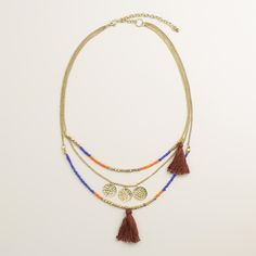 Gold Coin Tassel Layer Necklace | World Market