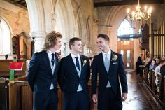 Groomsmen wear traditional morning suits with pale grey waistcoats & ties - Image by Nicola Norton Photography - Justin Alexander lace wedding gown & Jim Hjlem Occasions bridesmaid dresses in a rustic barn wedding with horses & stables and groom in traditional morning suit