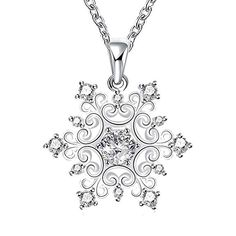 Happy Gogou Snowflake Silver Color Pendant Necklaces Setting with Cubic Zirconia