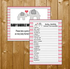 Word Scramble Baby Shower Games Elephant Pink, Elephant Shower Games in Pink, Baby Babble Word Scramble Game Printable Instant Download