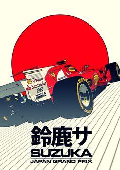 'Formula 1 Japanese Grand Prix' Poster by acalidien F1 Wallpaper Hd, Car Wallpapers, Japan Grand Prix, Ex Machina, Car Illustration, Car Posters, Car Drawings, Vintage Racing, Art Cars