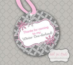 INSTANT DOWNLOAD Winter ONEderland pink and gray printable 3 inch favor tags by AddiJaiStudio on Etsy https://www.etsy.com/listing/168229328/instant-download-winter-onederland-pink