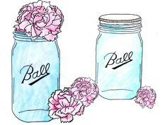 i drew some mason jar images then added some of my flower clip art i created and thought i would. Heart Clip Art, Heart Art, Mason Jar Soap Pump, Mason Jars, Mason Jar Tattoo, Mason Jar Clip Art, Vintage Surfboards, Stencil Font, Stencils