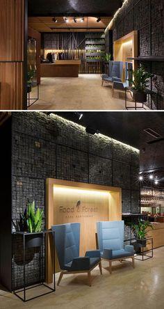 Food & Forest Restaurant by Ukraine-based YOD Design Lab… Restaurant Design, Restaurant Bar, Forest Restaurant, Cafe Interior Design, Cafe Design, Store Design, Interior Architecture, Design Lab, Commercial Interior Design
