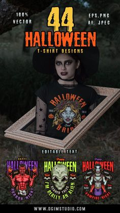 Awesome Halloween vector design illustrations with aliens, vampires, scarecrows, witches, etc. Be awesome at Halloween Party 2021! Boo!