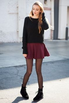Red Skater Skirt with Sweater Skirts Outfits To Try This Summer - LookVine