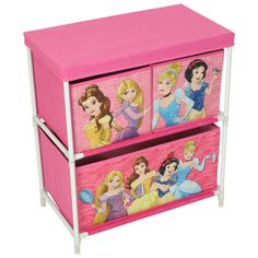 Disney Princess Toy Box Storage Unit Cabinet Drawers Childrens Bedroom Furniture