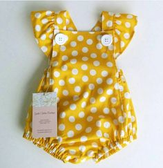Just pic Our Olivia Romper is made of a beautiful yellow polka dot fabric that will brighten anyones day. Accented with butterfly straps and big white buttons. All Rompe Baby Girl Romper Bubble Romper Baby Girl Outfit by GentleAdeline Try to copy wit Baby Girl Romper, Little Girl Dresses, Baby Girl Fashion, Kids Fashion, Fashion Clothes, Fashion Outfits, Fashion Styles, Fashion Tips, Baby Outfits