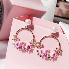 Sterling Femmes Rose Rouge Papillon Brillant Crystal Pearl Ear Stud Boucles d/'oreilles Parti
