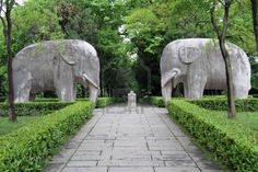 Stone elephants and foot path in garden, Nanjing, China Stock Photo Places Around The World, Around The Worlds, Lijiang, China Travel, China Trip, Nanjing, Largest Countries, Entrance Gates, Nature Crafts