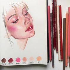 Creating skin colours in colour pencil is more complex then most realise. It's not a case of picking pink or brown. Skin can contain every single colour of the rainbow and lighting race and what the sitter is surrounded by all influence the colour of the skin. Not only that but colour needs to remain luminescent and textured- a difficult combo if you need to blend layers to achieve the perfect shade of pinky brown. Today I'm exploring imaginary skin palettes- combinations of colours that…