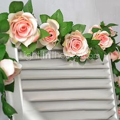 """78 """"l insieme dei 16 fiori rosa fiori di stoffa di seta rattan fiori del 2016 a €8.81"""