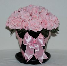 Baby Pink Paper Roses, Rose Bouquet, Roses in Pink and Black Painted Harlequin Patterned Pot, Mother's Day Gift, Birthday, Get Well Gift by TheBouncingFrogs on Etsy