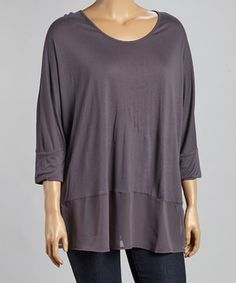 Look at this #zulilyfind! Dantelle Phantom Chiffon Hem Three-Quarter Sleeve Top - Plus by Dantelle #zulilyfinds