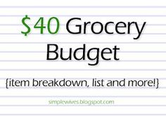 40 bucks is my monthly food budget! This'll be helpful when I live in an apartment. grocery budgets
