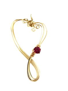 Heart pendant with Ruby CZ birthstone, gold filled wire by LindysLane on Etsy