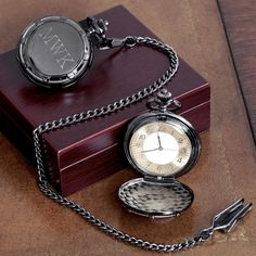 Gunmetal Pocket Watch for Groomsman |  Personalized Pocket Watch - This allows a longer message