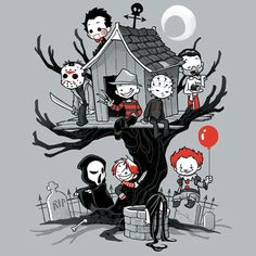 Horror Clubhouse - by DoOomcat Available for ShirtWoot from for a limited time only. Horror Cartoon, Funny Horror, Horror Icons, Horror Movie Characters, Horror Movies, Horror Movie Quotes, Horror Movie Tattoos, Comedy Movies, Arte Horror