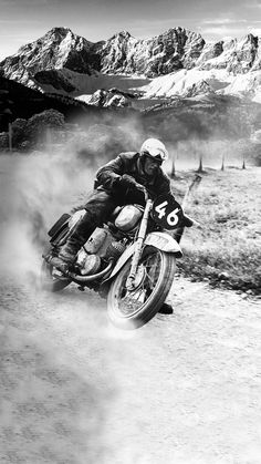 My grandfather at the 1955 motorcycle race at Dachstein Austria