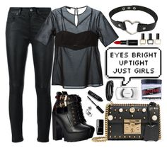 """""""Not Emo enough #emonight"""" by carolsposito ❤ liked on Polyvore featuring Yves Saint Laurent, T By Alexander Wang, Manic Panic NYC, Gucci, Balmain, BillyTheTree, Bobbi Brown Cosmetics, Smashbox and Chanel"""