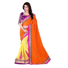 Designer Nirvana Yellow & Orange Embroidery Georgette Saree with Blouse at just Rs.1690/- on www.vendorvilla.com. Cash on Delivery, Easy Returns, Lowest Price.