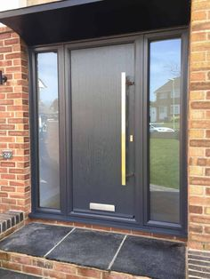 Home and Family Grey Composite Front Door, Grey Front Doors, Front Door Porch, Front Door Entrance, House Front Door, Porch Doors, Modern Entrance Door, Modern Front Door, Front Door Design