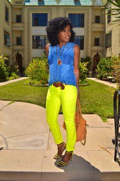 Style Pantry | Denim, Sleeveless Shirt; Neon Yellow Jeans; Neon Yellow Heels