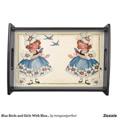 Blue Birds and Girls With Blue Flowerd Dresses Serving Platters
