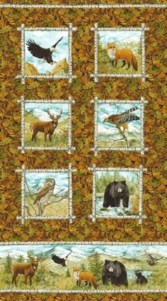 Northcott Mountain Springs 21314-34 Bear, Deer, Fox, Ow, Falcon, Eagle Panel 2/3…