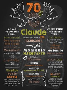 Affiche personnalisée anniversaire pour adulte Quel panache! (orange) | 3500$ #Cadeau#homme 50th Party, Art N Craft, Fiesta Party, 70th Birthday, Holidays And Events, Event Planning, Chalkboard, Messages, How To Plan