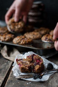 Blackberry sour cream bran muffins.