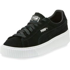 Puma Suede Platform Lace-Up Sneaker (190 PEN) ❤ liked on Polyvore featuring shoes, sneakers, black, black trainers, perforated sneakers, lace up sneakers, platform shoes and puma trainers