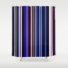 "Stop neglecting bathroom decor - our designer Shower Curtains bring a fresh new feel to an overlooked space. Hookless and extra long, these bathroom curtains feature crisp and colorful prints on the front, with a white reverse side. - One size: 71"" (W) x 74"" (H) - Made in the USA with 100% polyester - 12 buttonhole-top for easy hanging - Machine washable, tumble dry - Rod, curtain liner and hooks not included Custom Shower Curtains, Bathroom Curtains, Keep Shopping, Color Stripes, Hooks, Crisp, Colorful, Space, Usa"