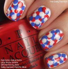 Lovely red, white and blue nails