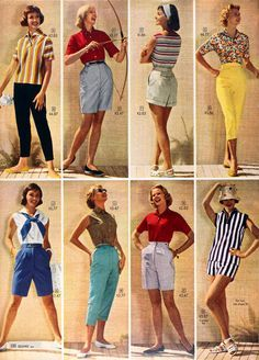 1950s shorts women fashion