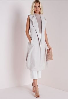 Missguided Faux Suede Sleeveless Belted Trench Coat Grey
