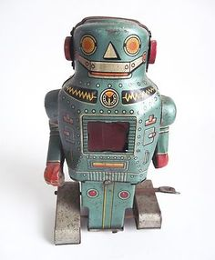 Vtg 1960s Tin Toy Wind-Up Mechanical SPARKING MIGHTY SPACE ROBOT