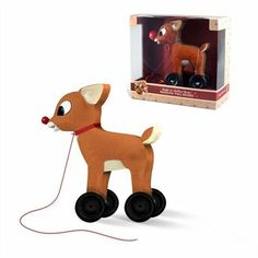Everyone's favourite reindeer is rendered into a classic pull toy for young children to enjoy.